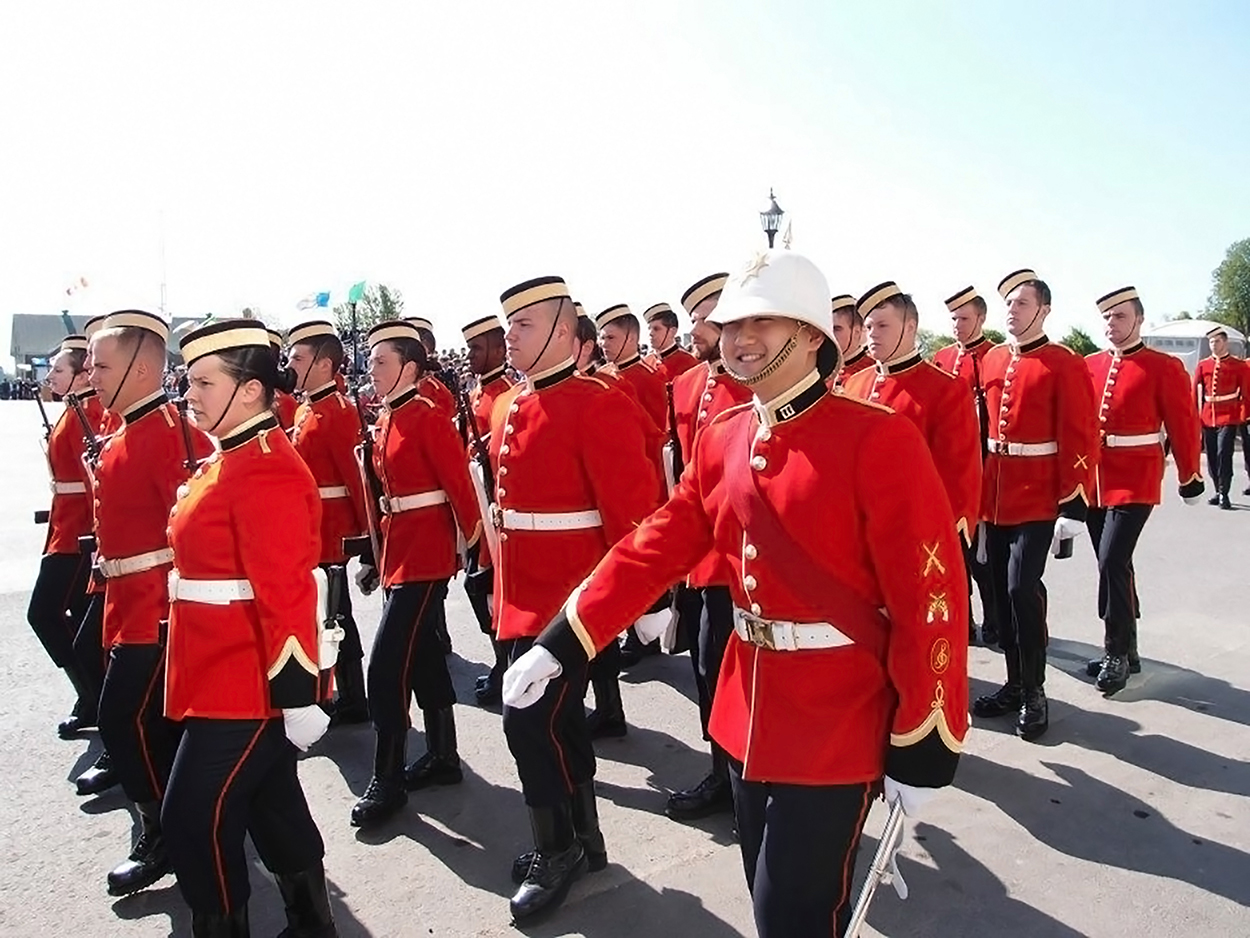 Captain Hyunjoon (Dave) Jung (then Officer Cadet) leads his squadron onto the parade square during his Royal Military College of Canada Graduation Parade in May 2012 in Kingston, Ontario. 