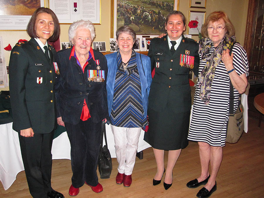 From Left to Right – Lieutenant-Colonel Carolyn Blanchard, Nursing Sister Betty Brown (99 years old), Ms. Allision Reid (Ms. Brown's daughter), Major Yvonne Brierley, Ms. P. Gail Harrod (retired military nurse and Executive Member of the Nursing Sister Association of Canada (Ottawa Unit) at the unveiling of Col Smellie's portrait at the Army Officers' Mess in Ottawa on May 25, 2017.