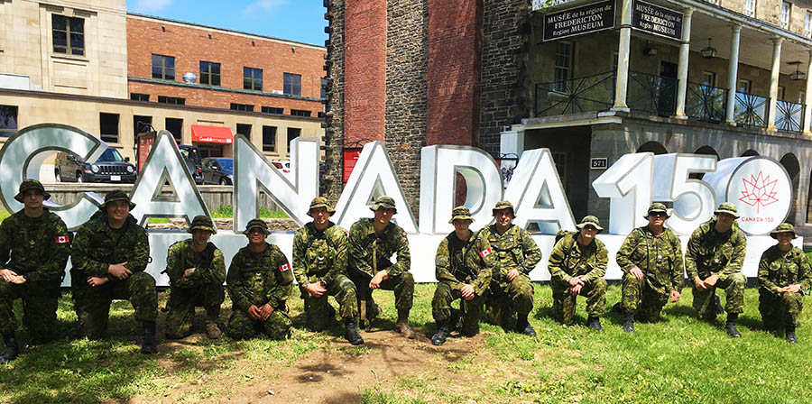 Bombardier Dakota Don Williams (fourth from left) in June 2017 with his team outside the Fredericton Region Museum after marching from Oromocto to Fredericton, approximately 21 kilometres, in preparation for the 101st annual International Four Days Marches Nijmegen from July 19 to 21, 2017.
