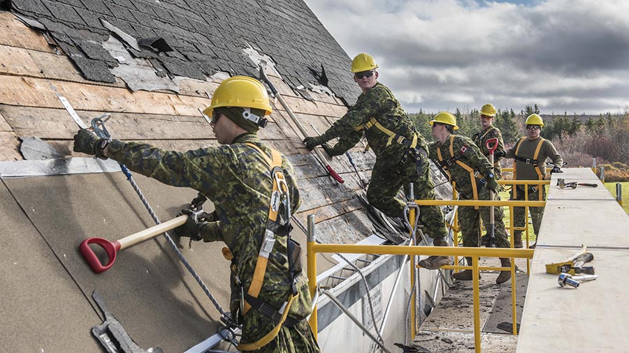 Looking for a handy person? #5DivSoldiers from 4 Engineer Support Regiment make major infrastructure repairs to the Stone Church (formerly St. Alphonsus Church) in Victoria Mines, Nova Scotia on behalf of the Stone Church Restoration Society during Exercise NIHILO SAPPER.