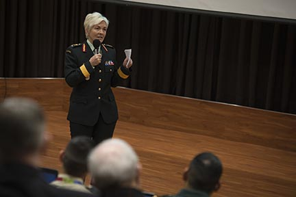 Brigadier-General Jennie Carignan, who is the Canadian Army's Chief of Staff Army Operations, speaks at an international conference on Innovation Methodologies for Defence Challenges in Ottawa on January 30, 2018. Photo: Sergeant Issa Paré, Canadian Forces Joint Imagery Centre. ©2018 DND/MDN Canada.