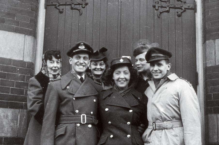 Wedding photograph of Molly Lamb (front, centre), Bruno Bobak (right). George Metcalf Archival Collection Canadian War Museum 20040082-045