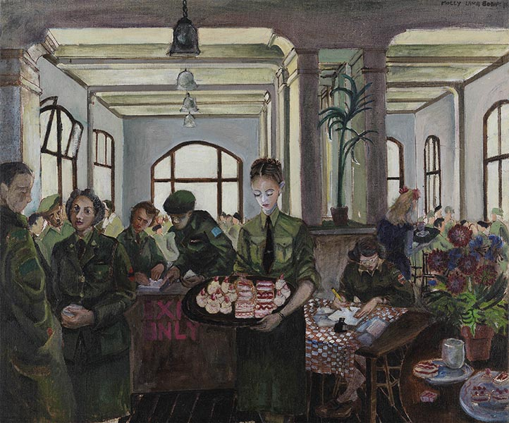Canteen, Nigmegen, Holland Painted by Molly Lamb Bobak in 1945 Oil and ink on canvas 51.2 cm x 61.1 cm Beaverbrook Collection of War Art Canadian War Museum 19710261-1561