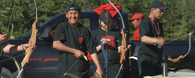 Slide - Members of the Junior Canadian Rangers doing archery