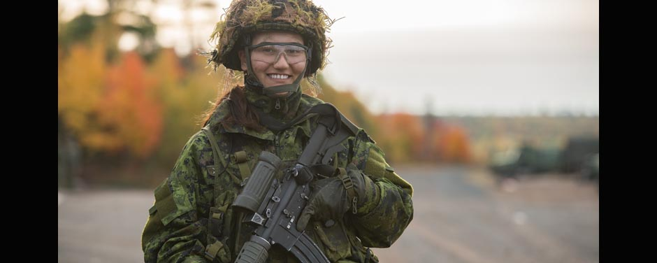 Slide - Female soldier smiling
